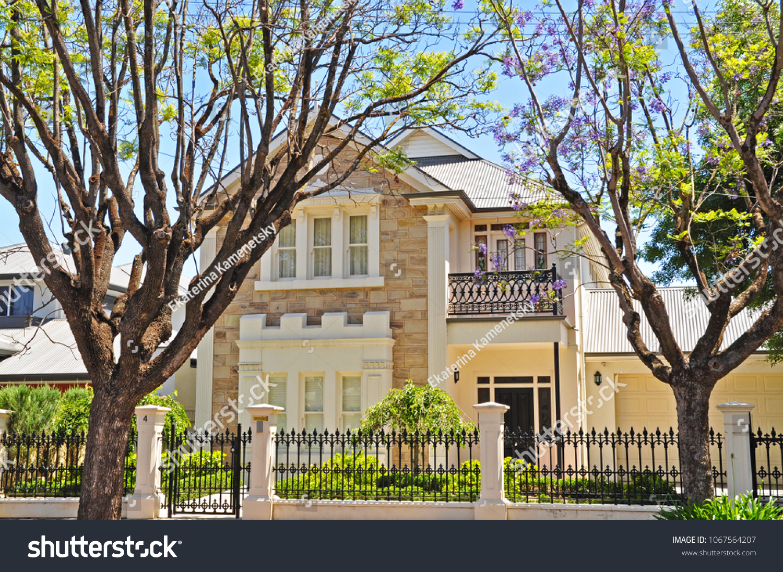 Typical Australian Family House Facade Example Stock Photo 1067564207    Shutterstock