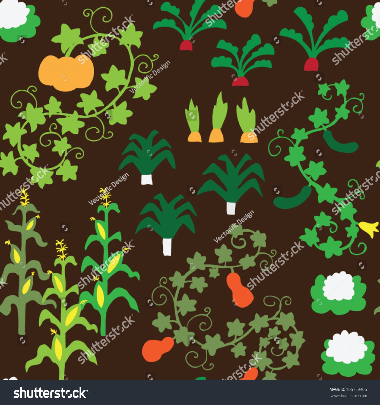 Vegetable garden graphic - Seamless Vegetable Garden Pattern