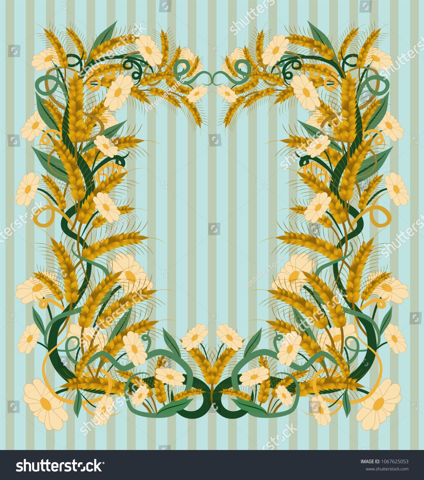 Wheat Wallpaper Art Nouveau Style Vector Stock Vector (Royalty Free ...