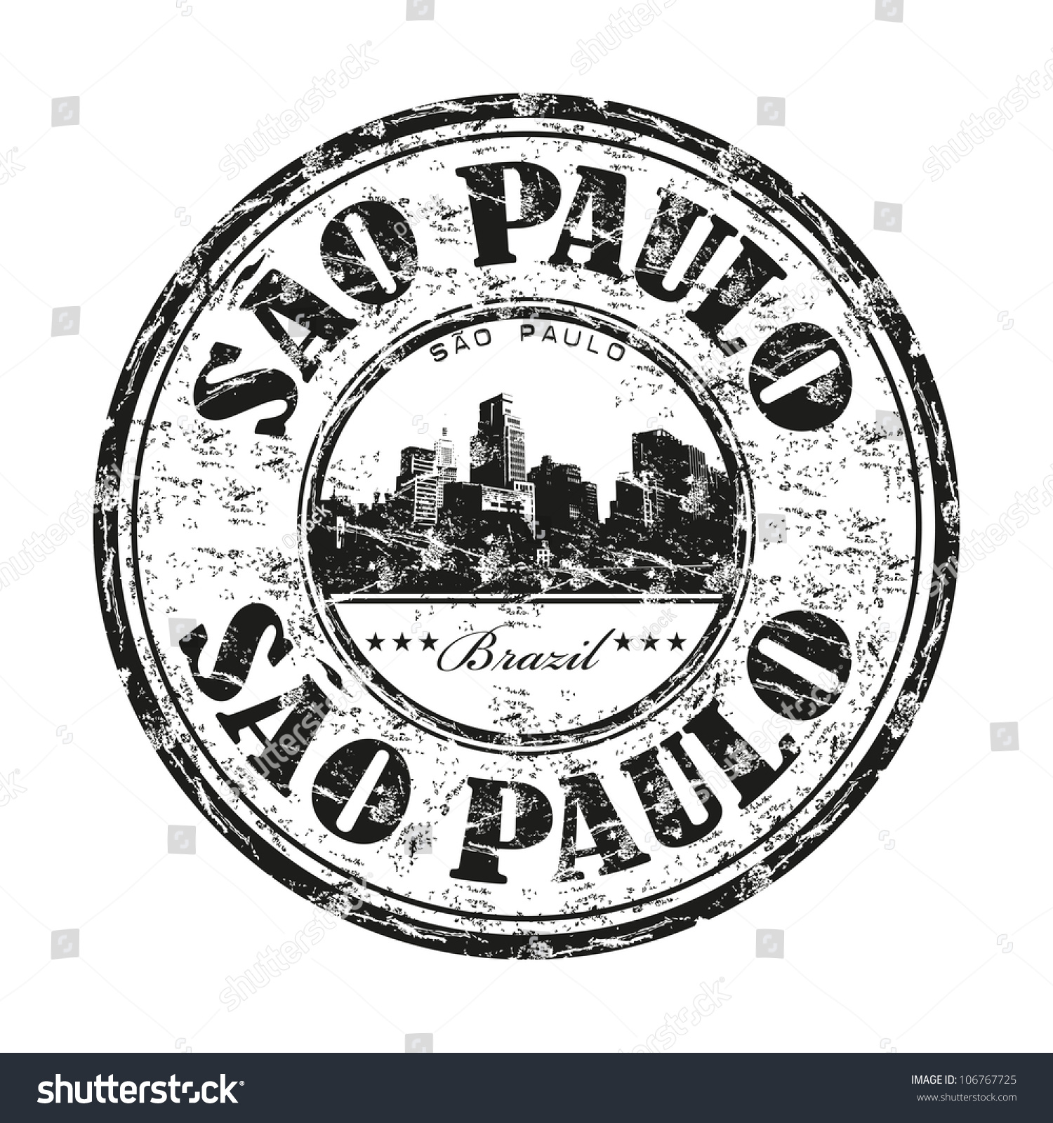 Black Grunge Rubber Stamp With The Name Of Sao Paulo The ...