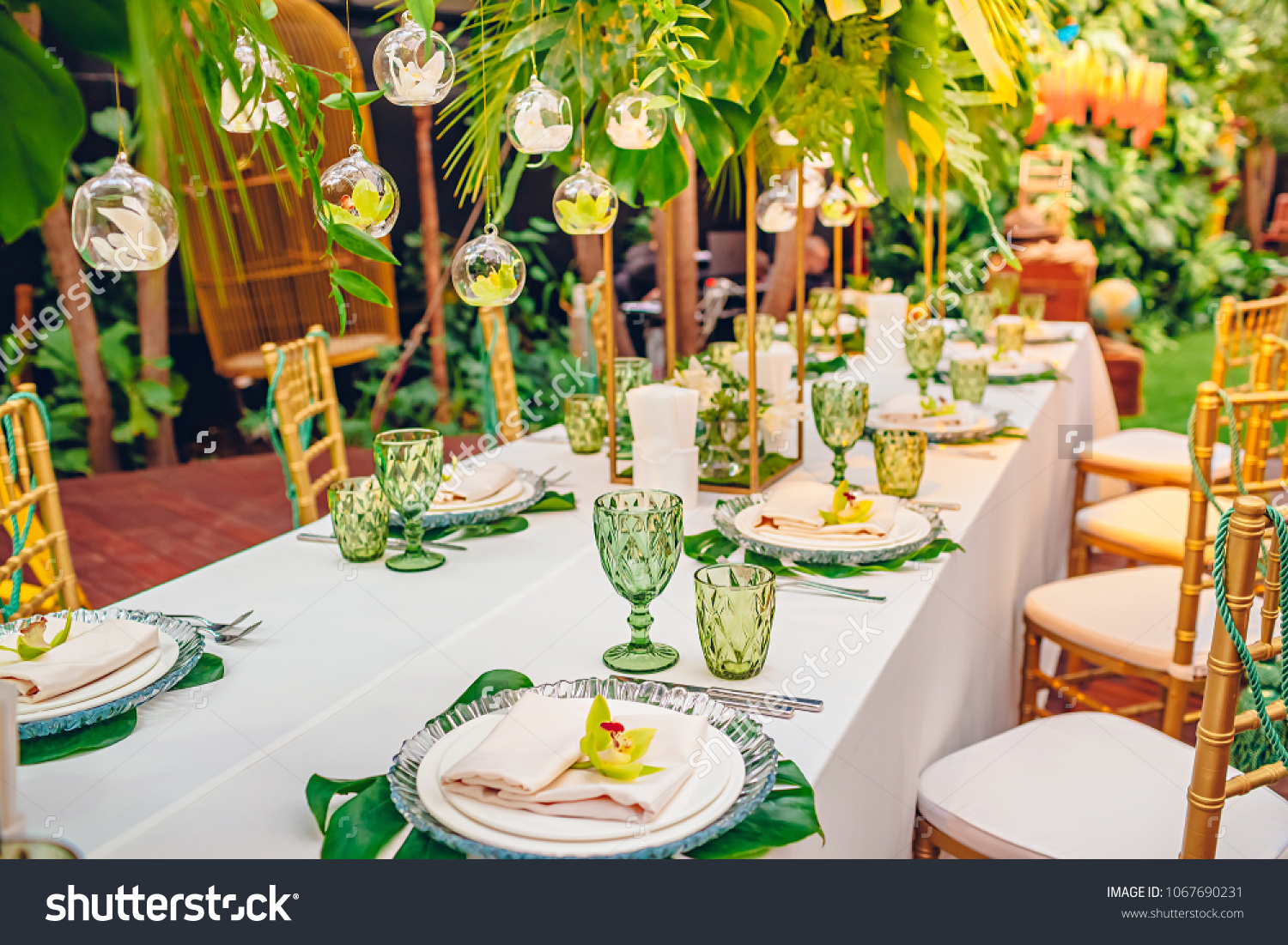 Served Table Tropical Party Decorated Orchids Stock Photo (Edit