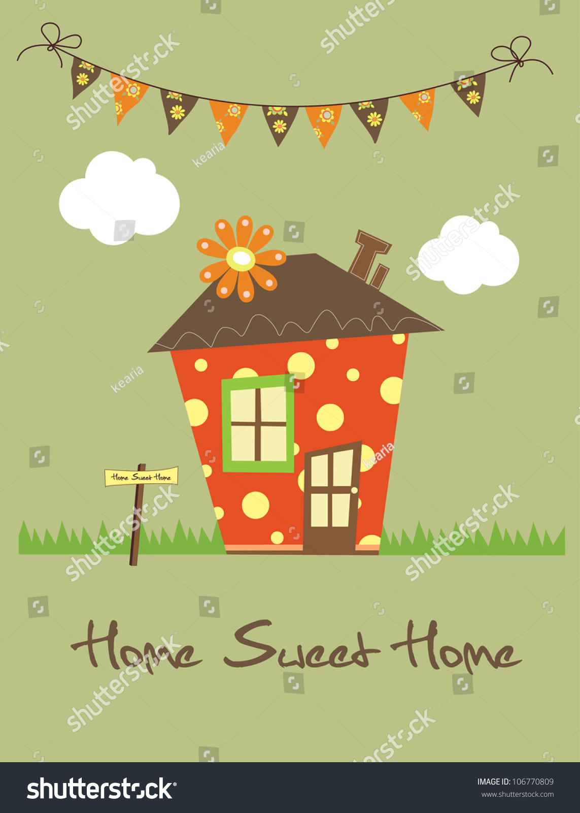 home sweet home vector illustration stock vector 106770809 shutterstock. Black Bedroom Furniture Sets. Home Design Ideas