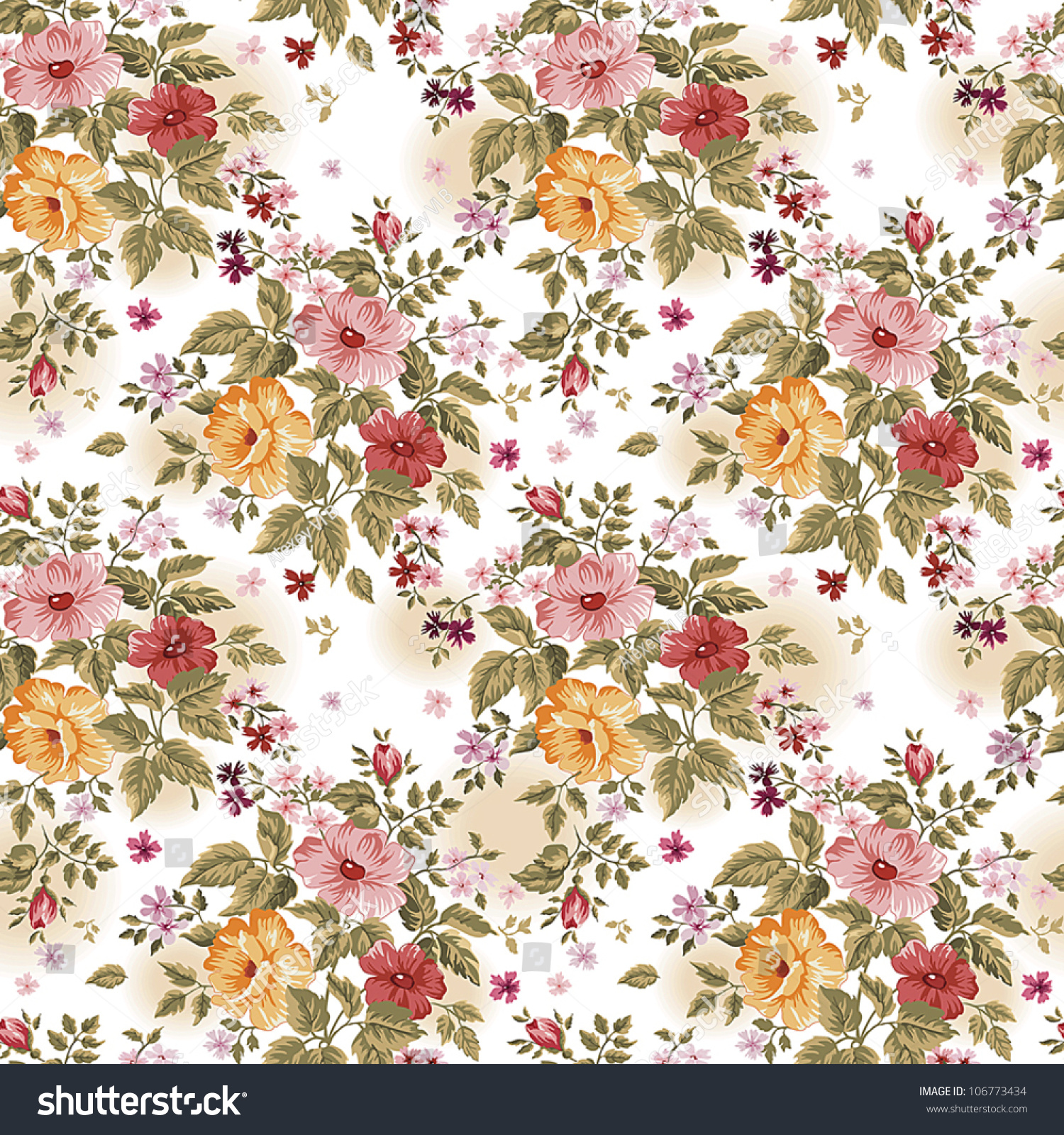 Bright Floral Seamless On White Background Stock Vector ...