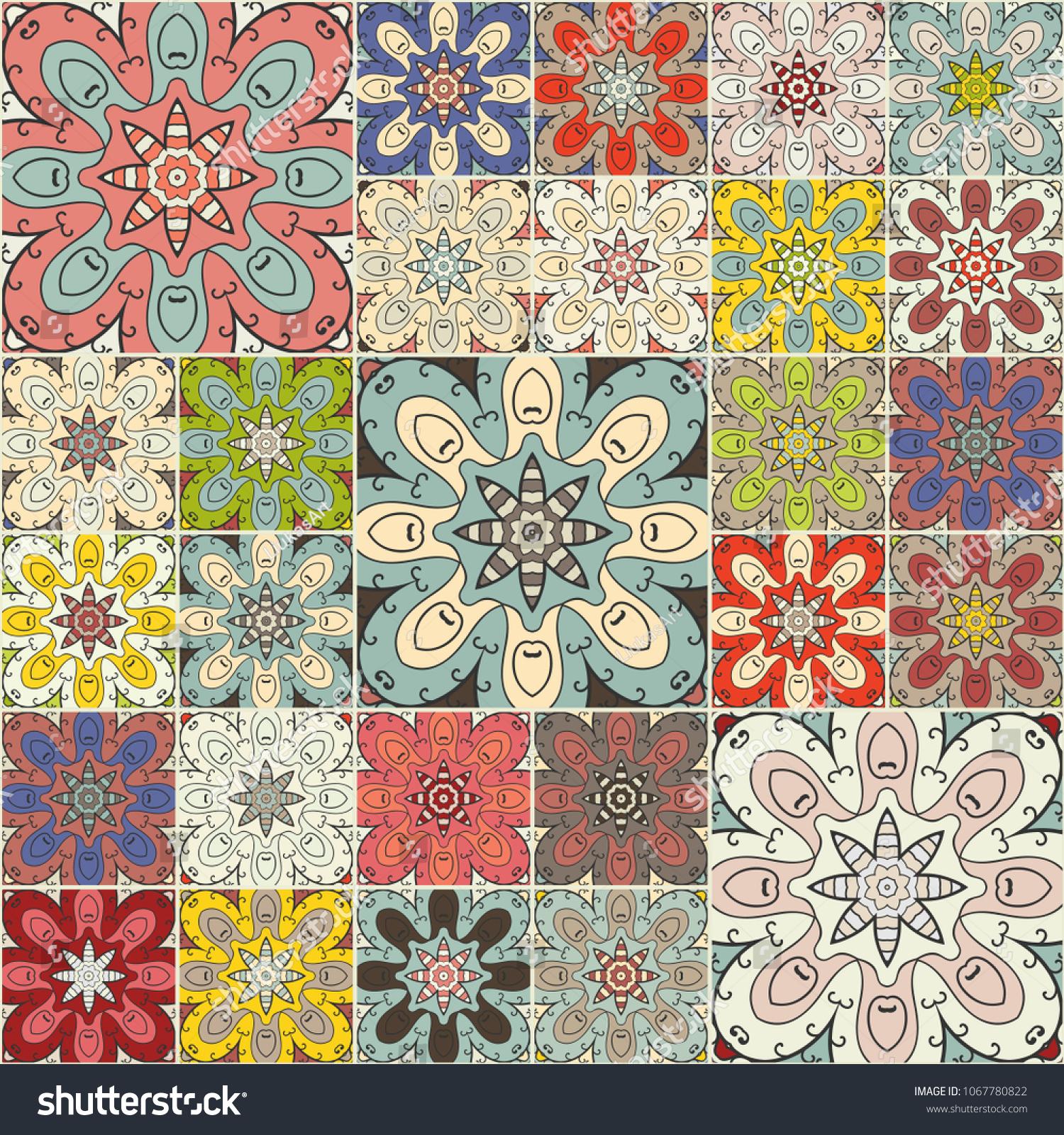 Vector Patchwork Quilt Pattern Vintage Decorative Elements Hand Drawn Background