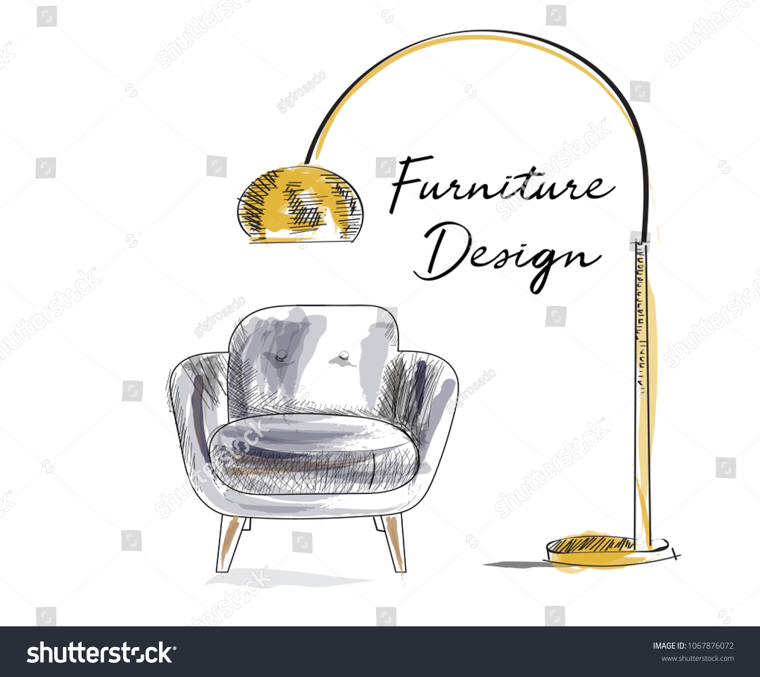 Armchair Sketch Hand Drawn Chair Vector Stock Vector Royalty Free 1067876072