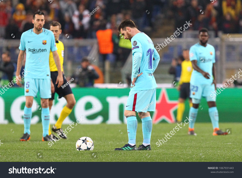 0b49e898 ROME, ITALY - APRIL 10,2018: Barcelona delusion during fotball match UEFA  Champions