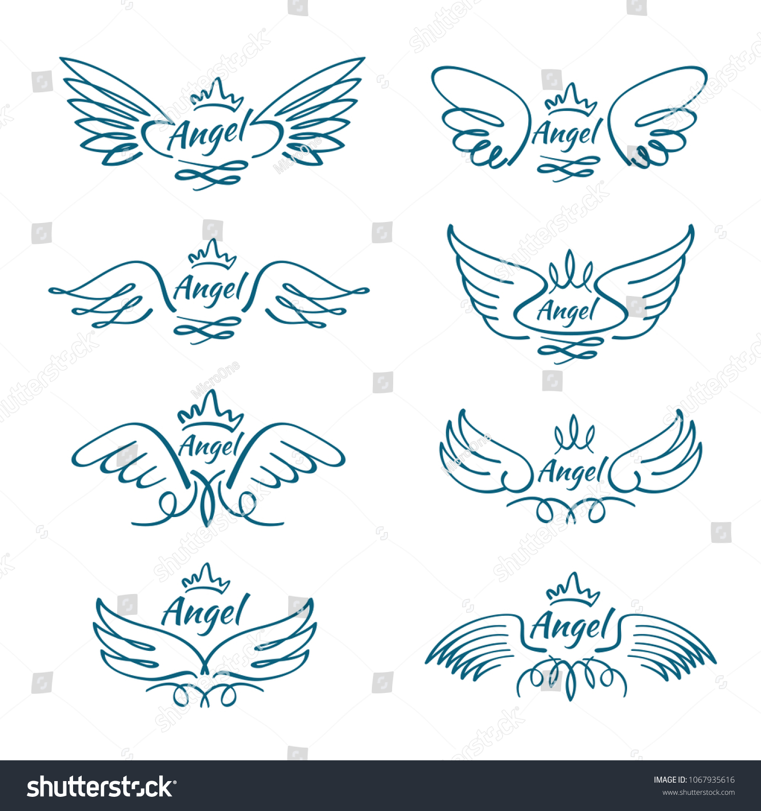Elegant Angel Flying Wings Hand Drawn Stock Illustration 1067935616