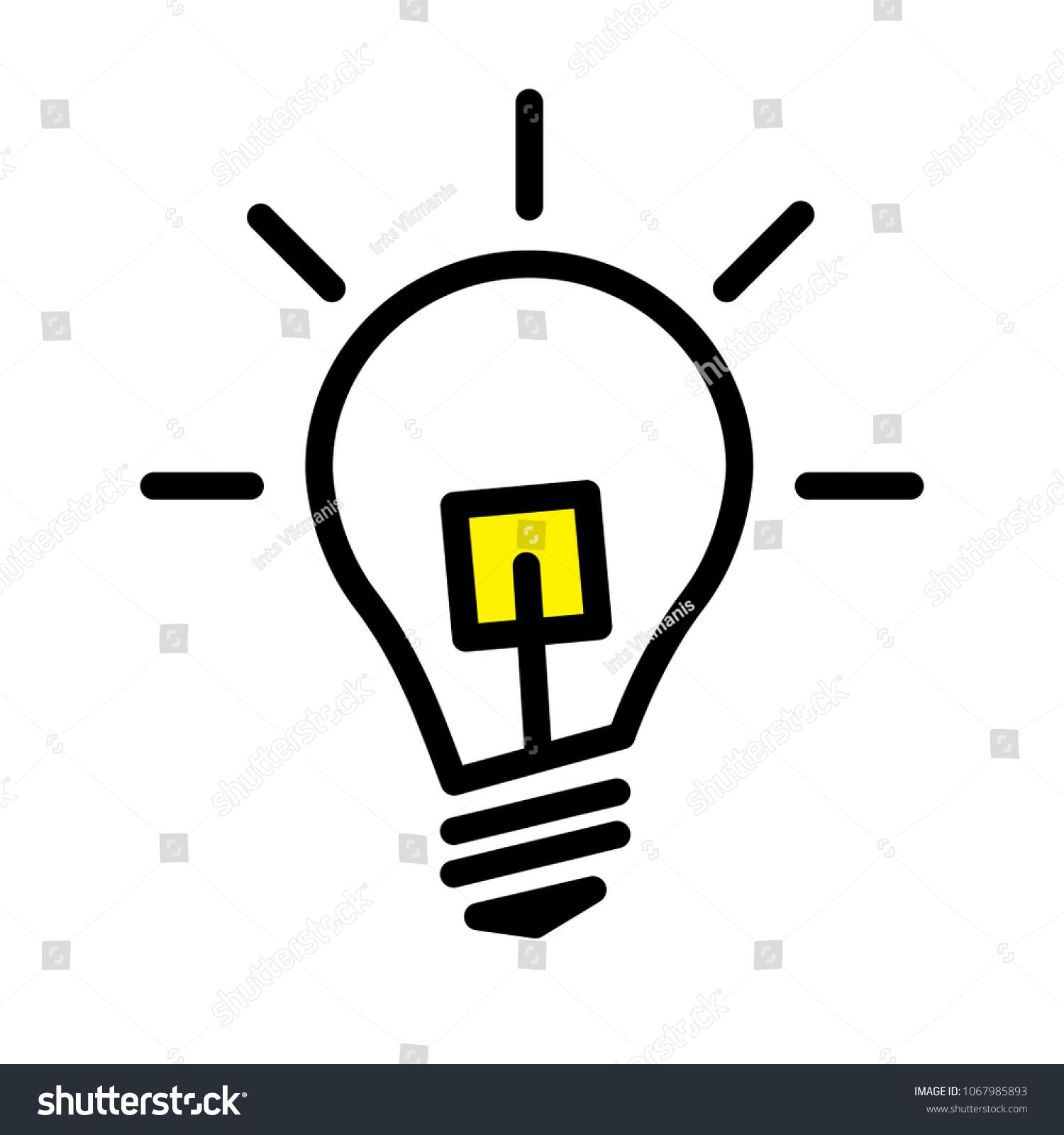 Electric LED Light Bulb Lamp Symbol Stock Vector HD (Royalty Free ...