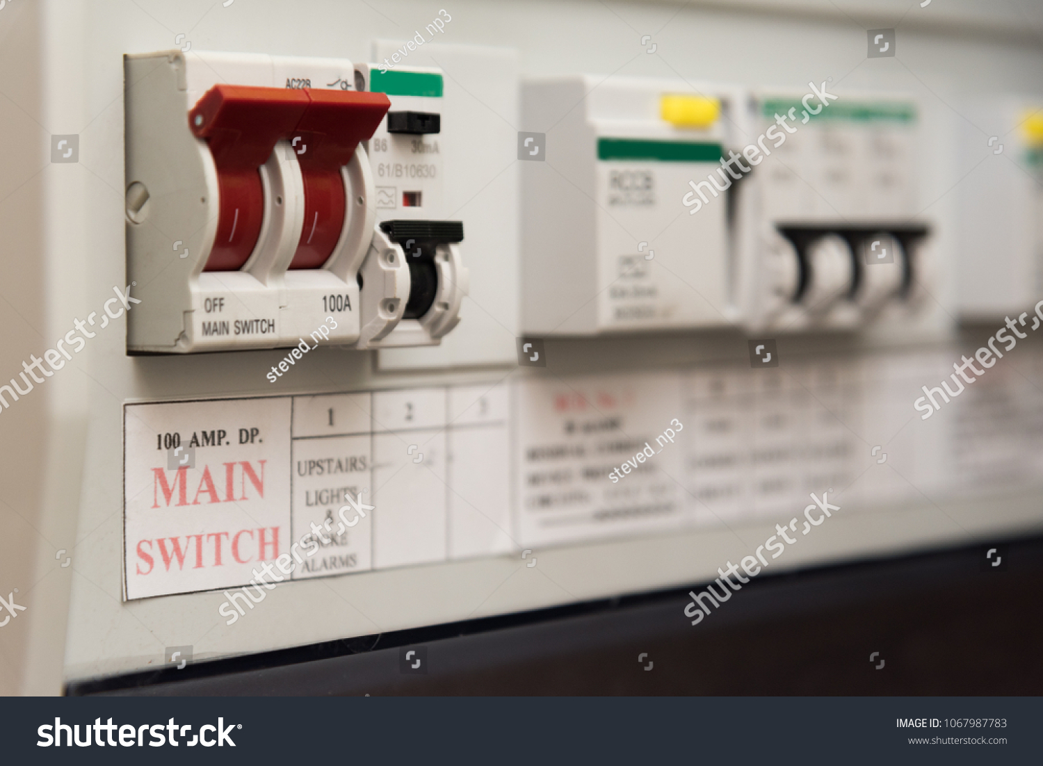 Close Mcb Micro Circuit Breaker On Stock Photo Edit Now 1067987783 Fuse Box Ads Up Of A Uk Domestic Electrical Consumer
