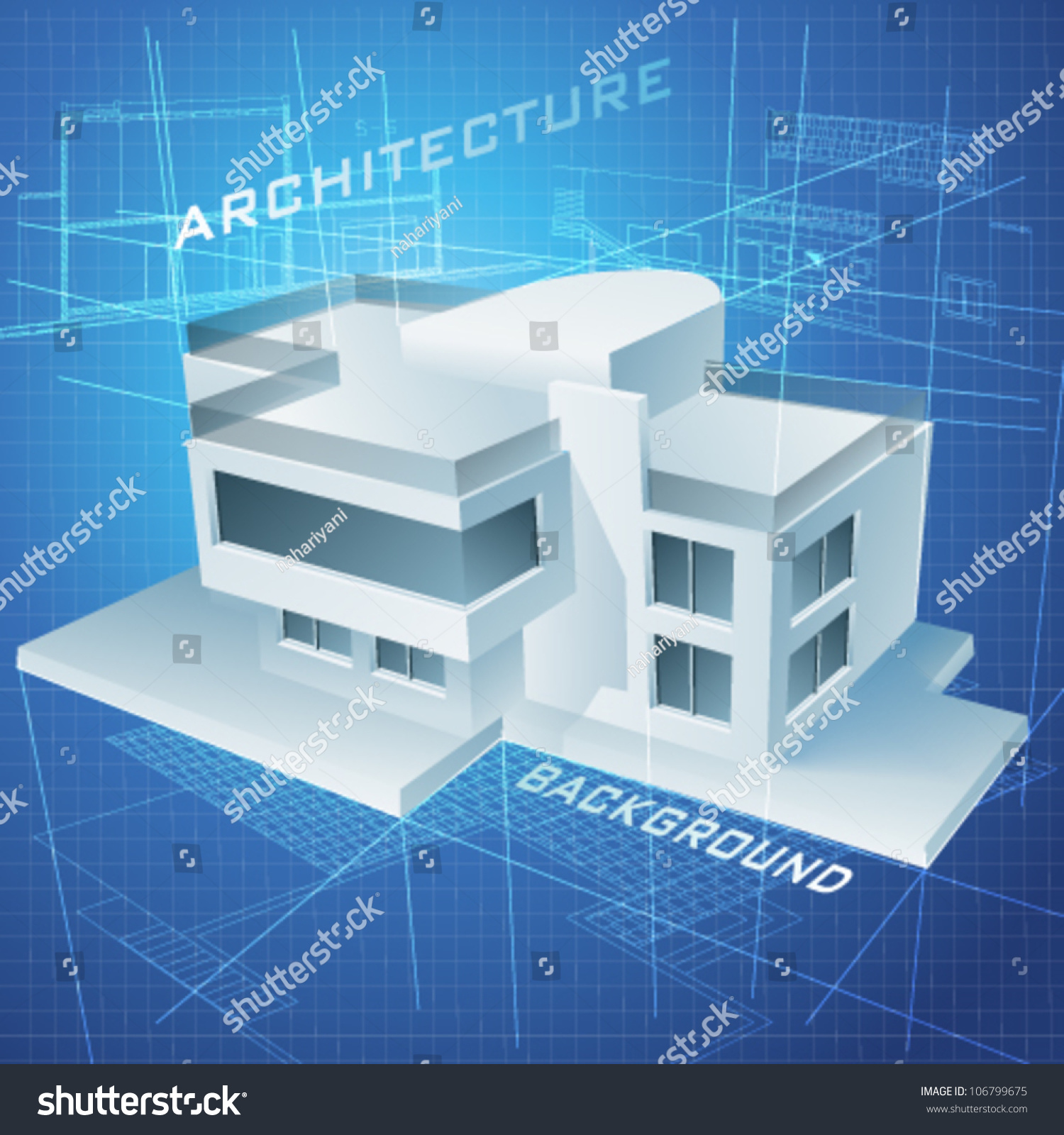 Urban blueprint vector architectural background 3d stock photo urban blueprint vector architectural background with a 3d building model malvernweather Choice Image