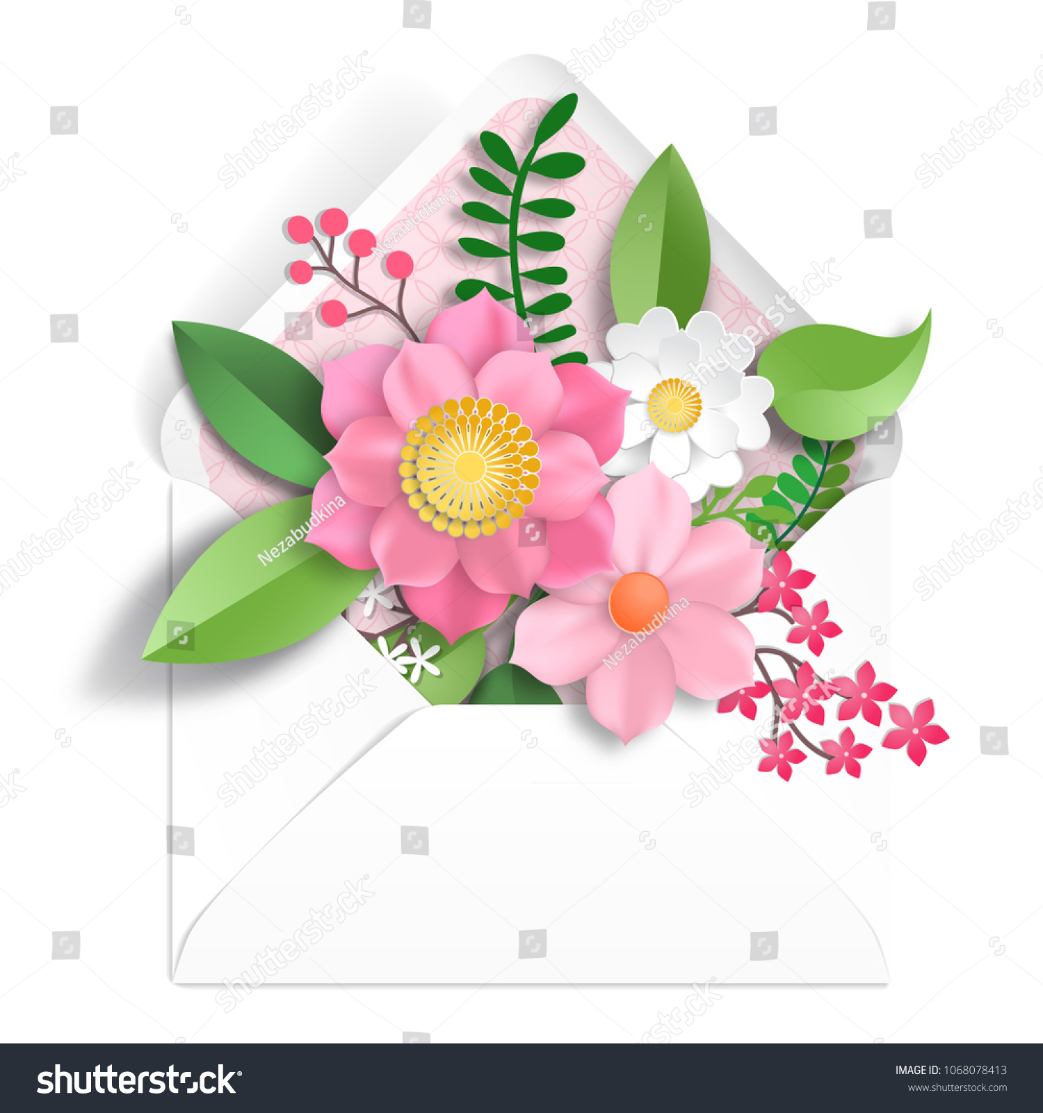 Envelope 3 D Paper Flowers Paper Cut Stock Illustration 1068078413