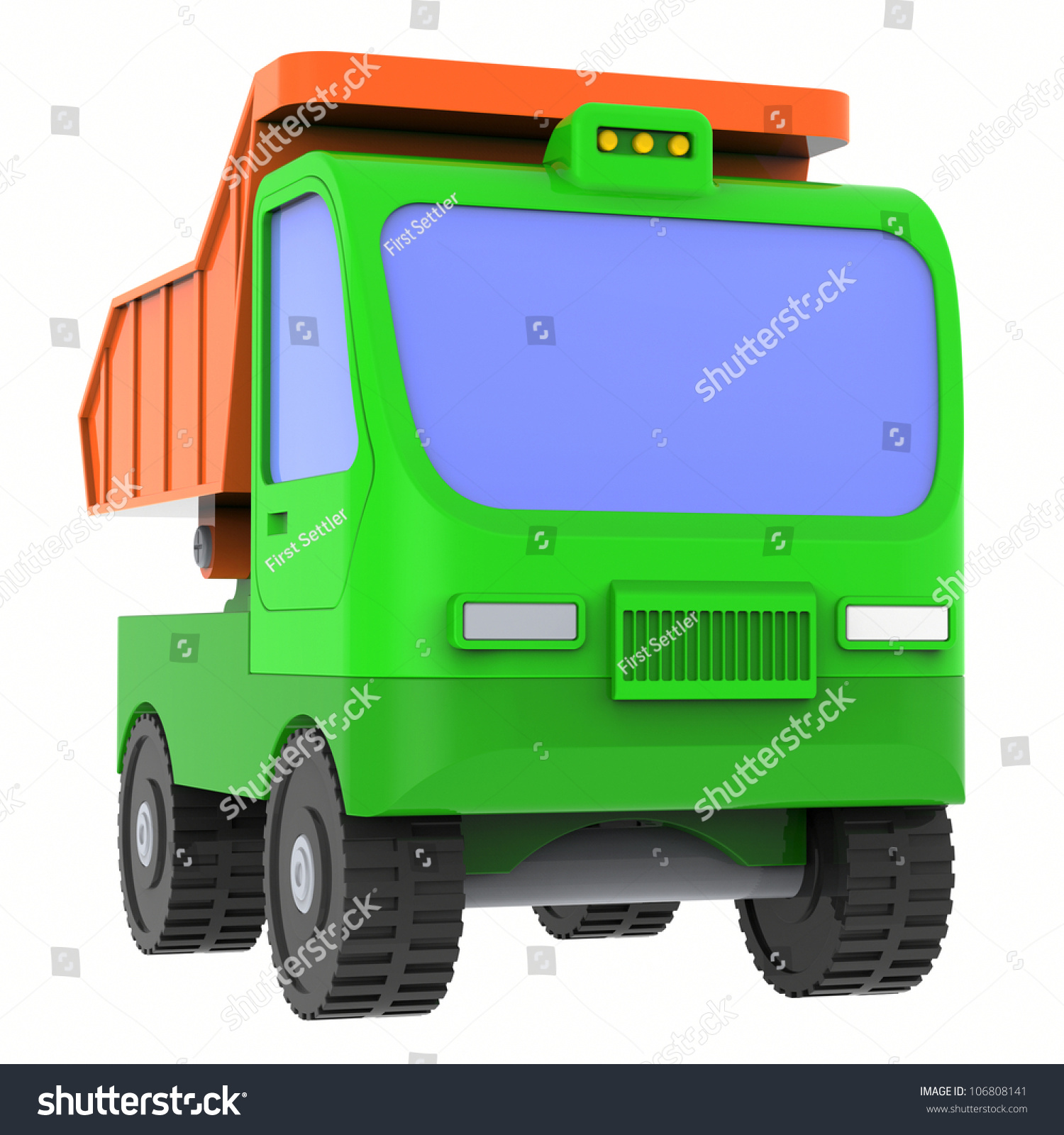 Green Toy Truck : Green toy truck isolated on white background abstract d