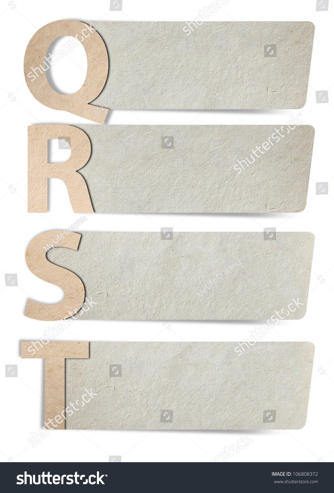 alphabet letters paper paper banners isolated stock photo 106808372