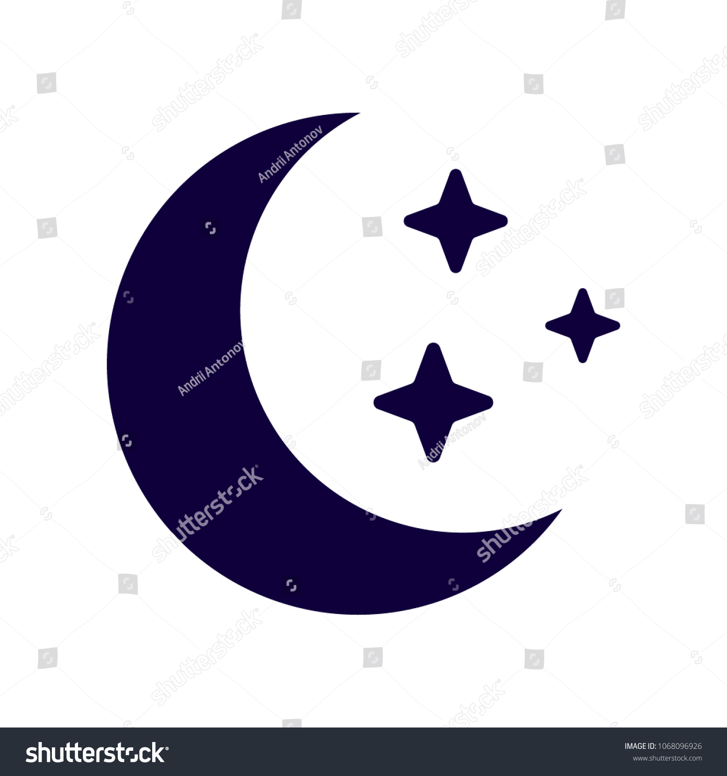 Moon Icon Isolated On White Flat Stock Vector Royalty Free