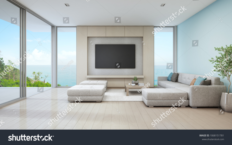 Sea View Living Room Luxury Beach Stock Illustration 1068151781