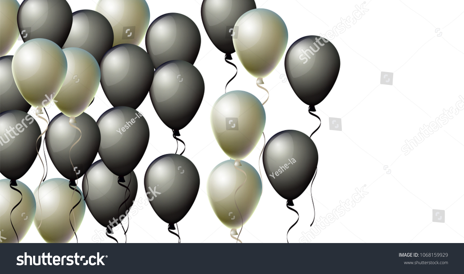 94a7277006e Realistic Black and Silver Helium Balloons. Party, Christmas, Birthday, New  Year Celebration