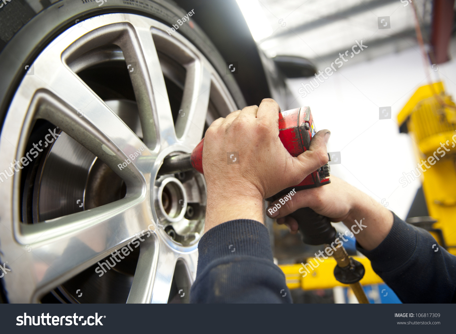 Hands On Garage : Detail image mechanic hands tool changing stock photo