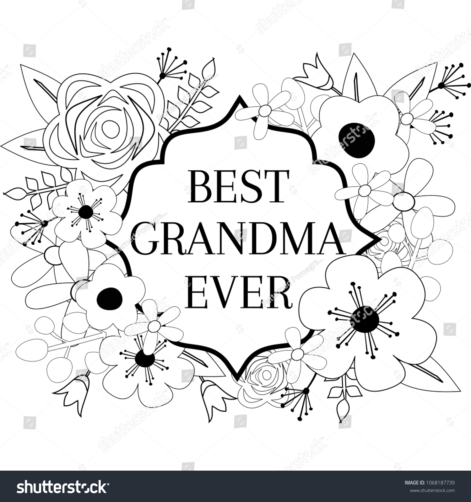Best Grandma Ever Coloring Page Flower Stock Vector (Royalty Free ...