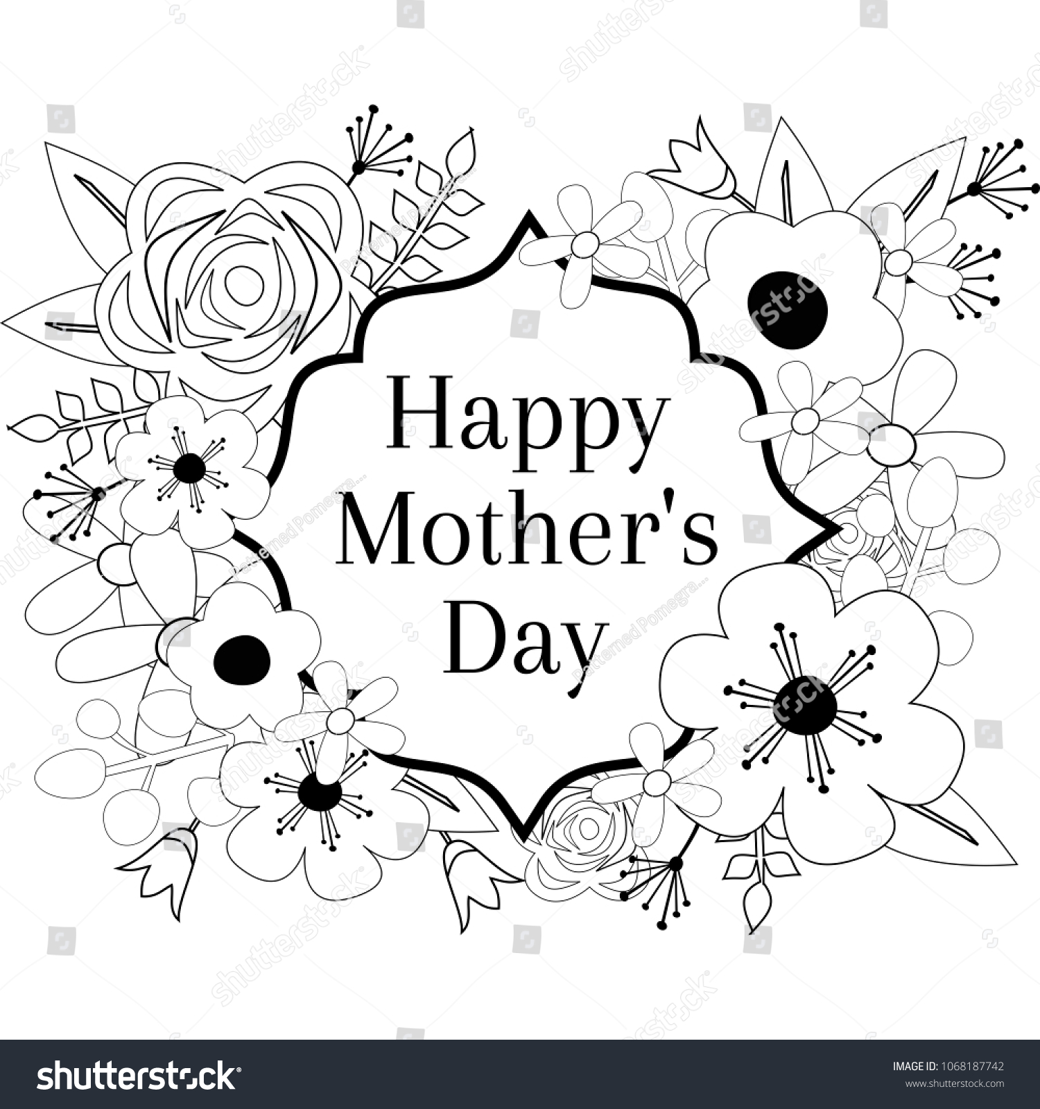 happy mothers day coloring page outline vector graphic floral frame greeting card