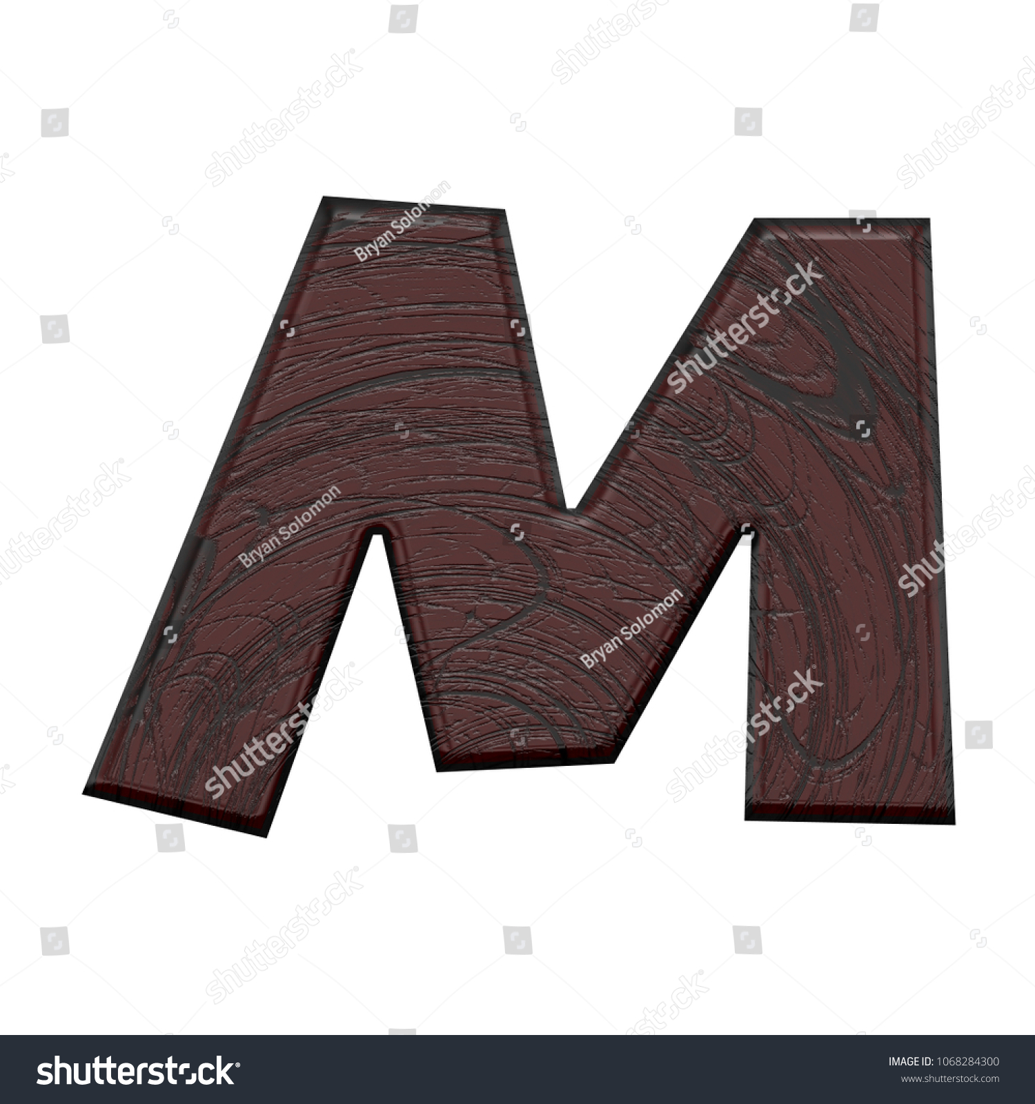 smooth dark brown wooden letter m uppercase or capital in a 3d illustration with
