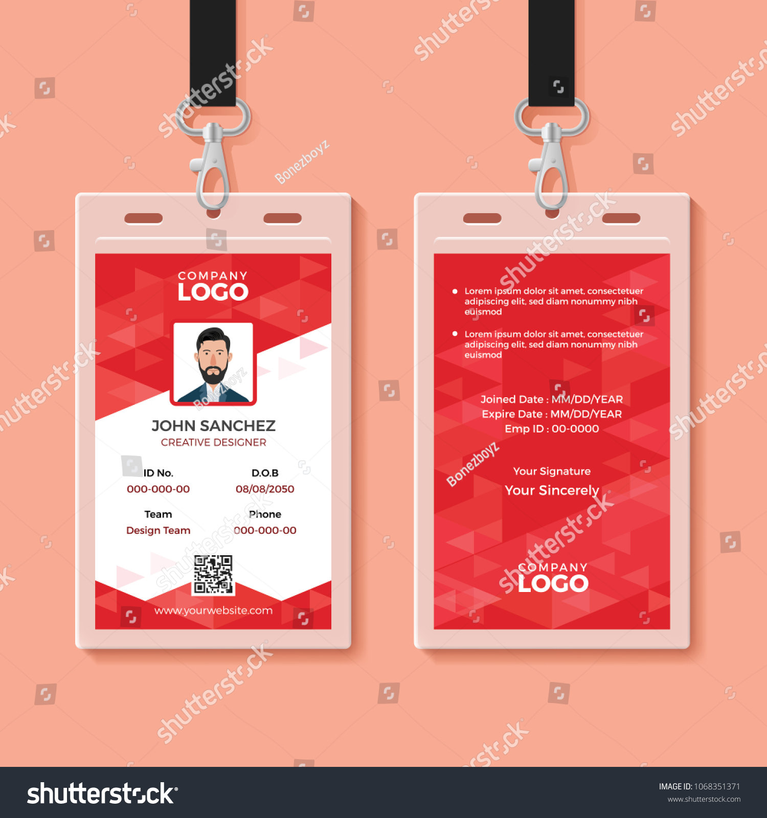 red corporate id card design template のベクター画像素材