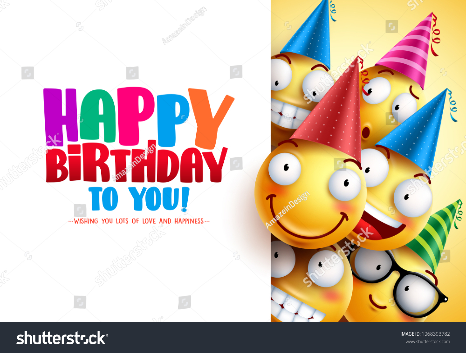 Smileys Birthday Vector Greeting Design With Yellow Funny And Happy Emoticons Wearing Colorful Party Hats