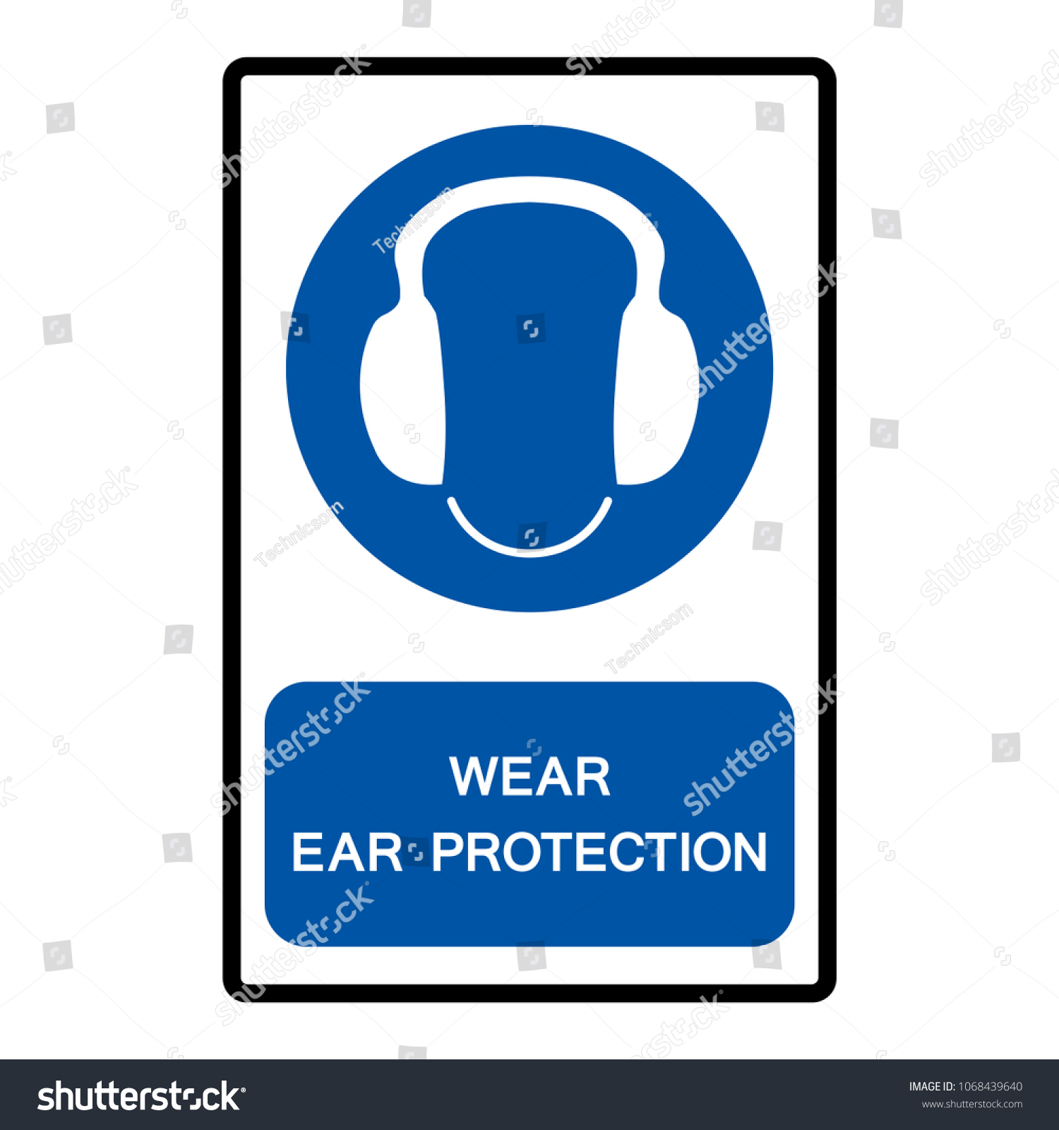 Wear Ear Protection Symbol Vector Illustration Stock Vector Royalty