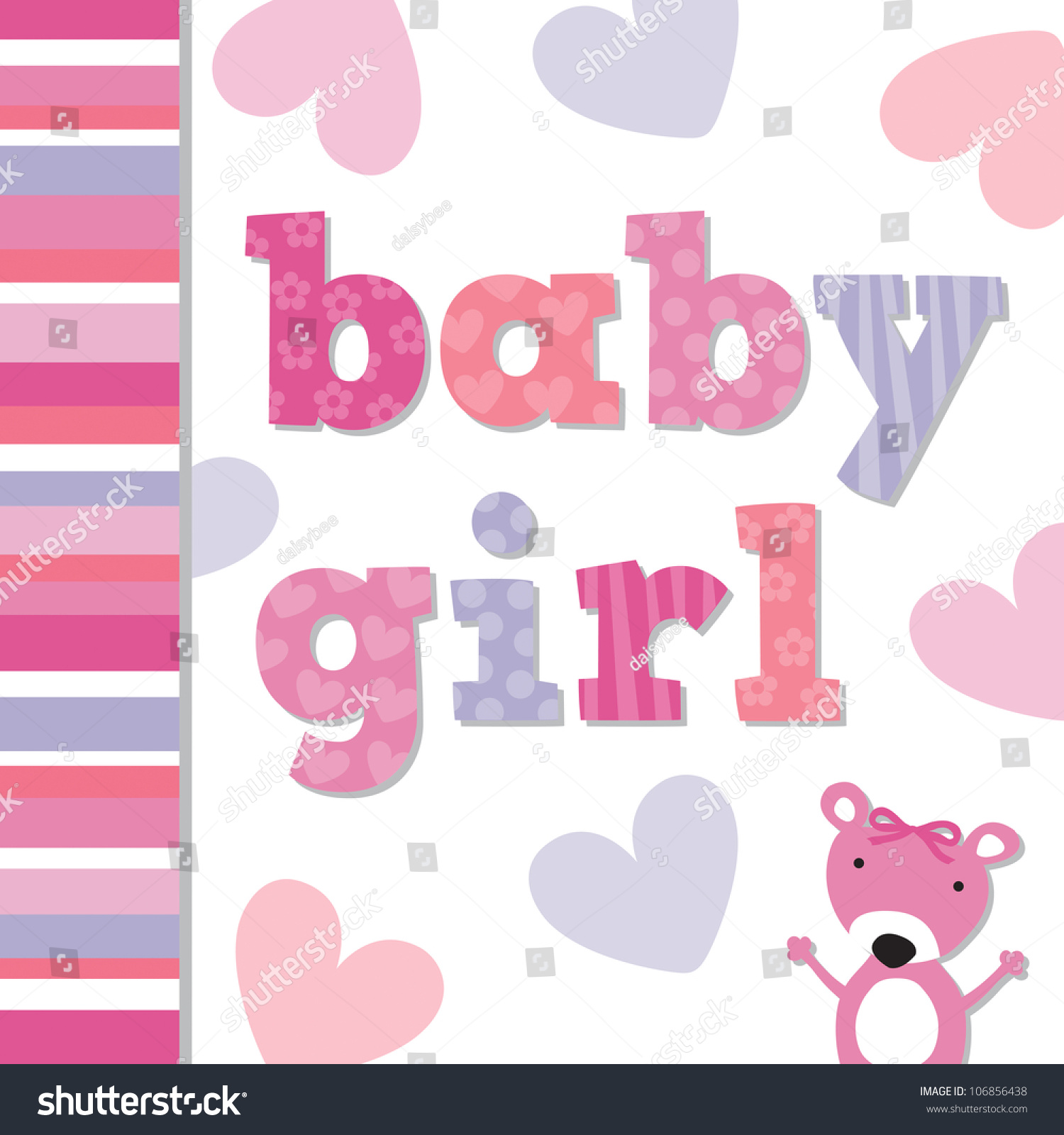 JPEG Greeting Card template for new Baby Girl with cute teddy bear ...