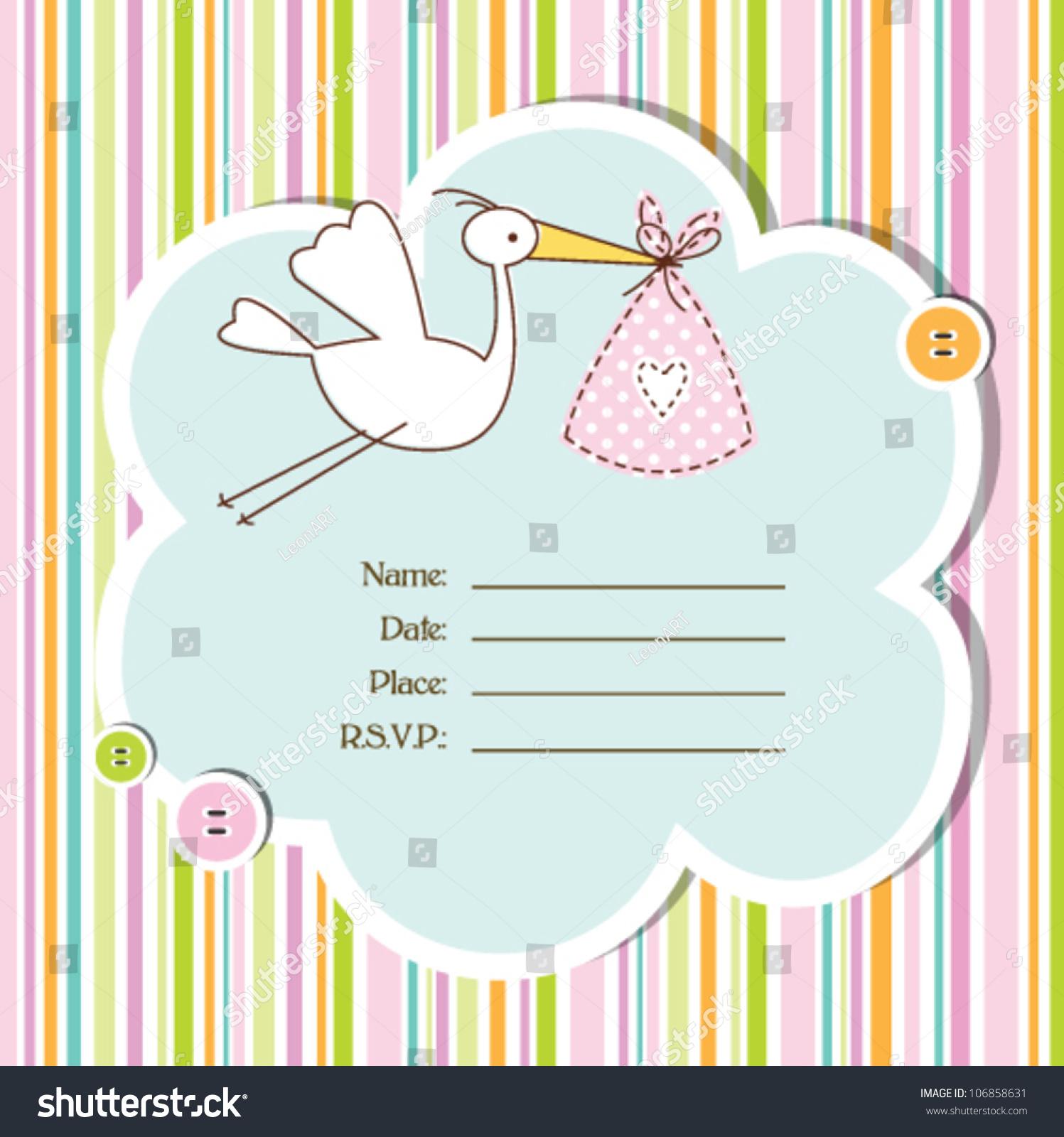 baby girl arrival card baby shower card stock vector illustration