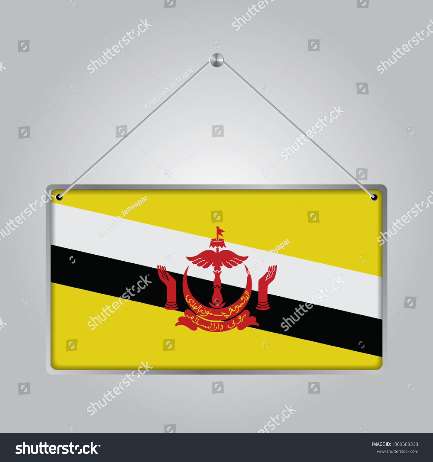 Flag Brunei Darussalam Symbol State Pennant Stock Vector Royalty