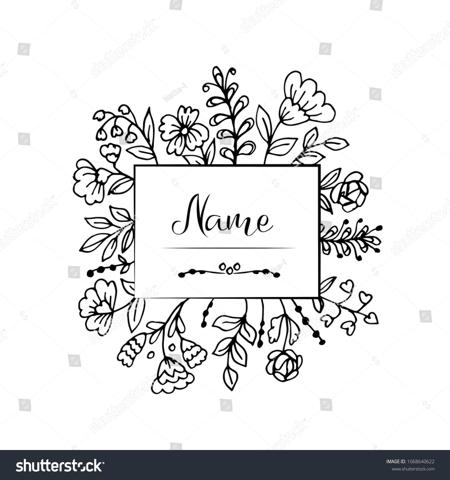 doodle flowers leaves black outline label stock vector (royalty free