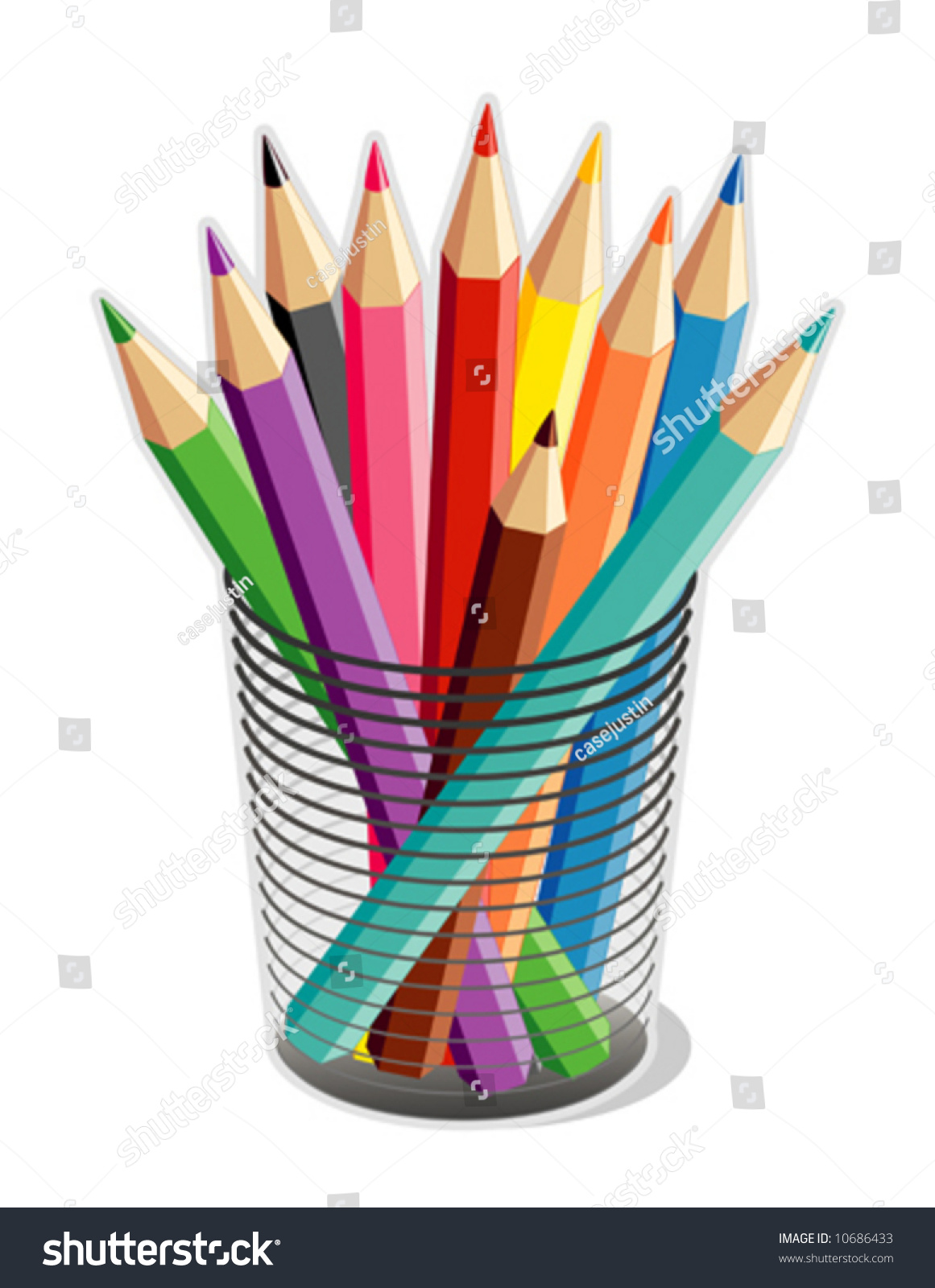pencils multi color drawing writing tools stock vector 10686433