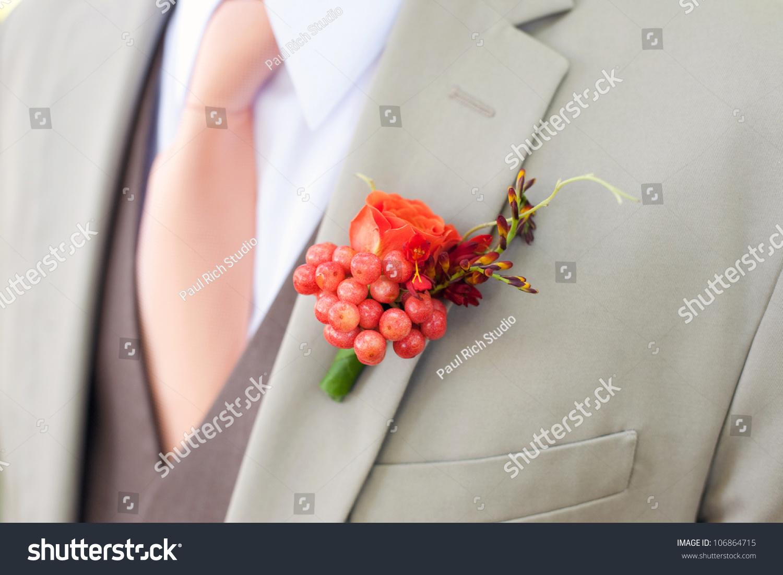 wedding boutonniere on suit groom stock photo   shutterstock, Beautiful flower