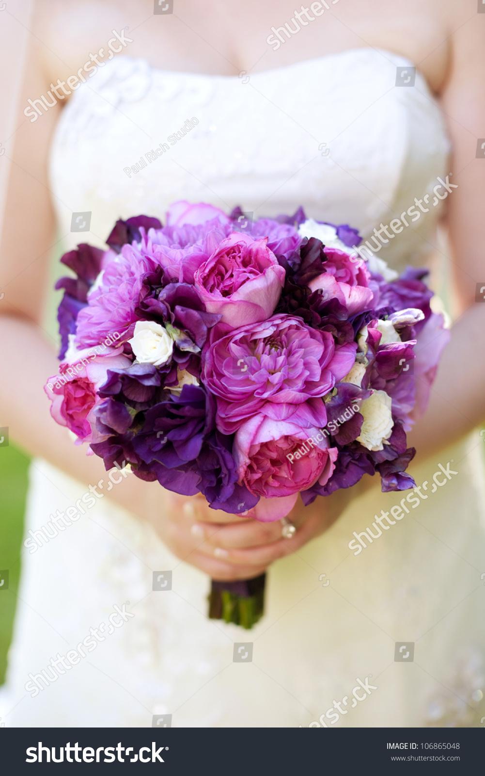 item brides maid pink purple bouquet
