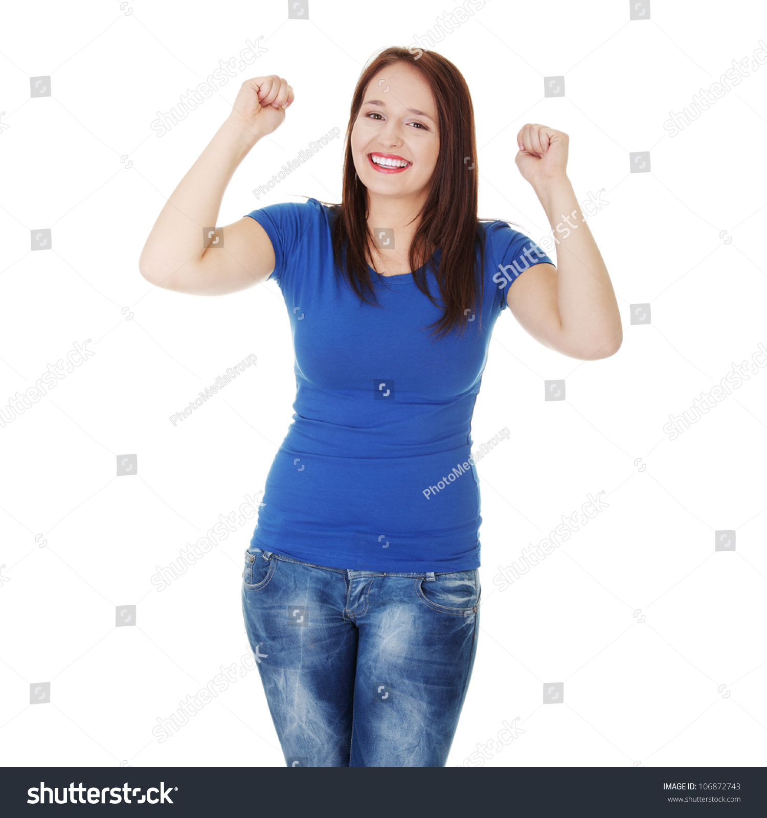 Happy Woman Wearing Jeans Blue Tshirt Stock Photo 106872743 - Shutterstock