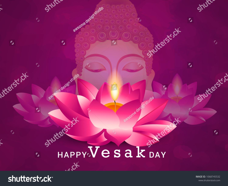 Happy Vesak Typography Greeting Card Background Stock Vector