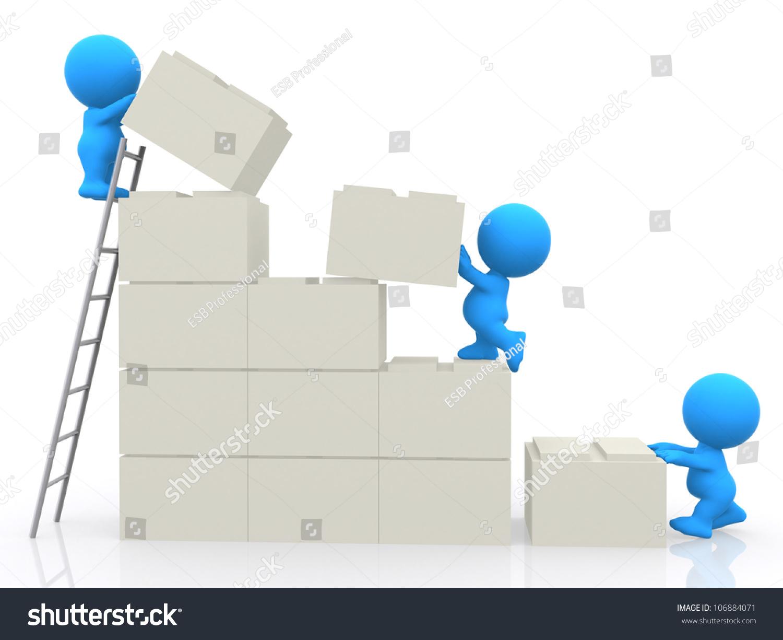 3 d people assembling blocks building wall stock illustration