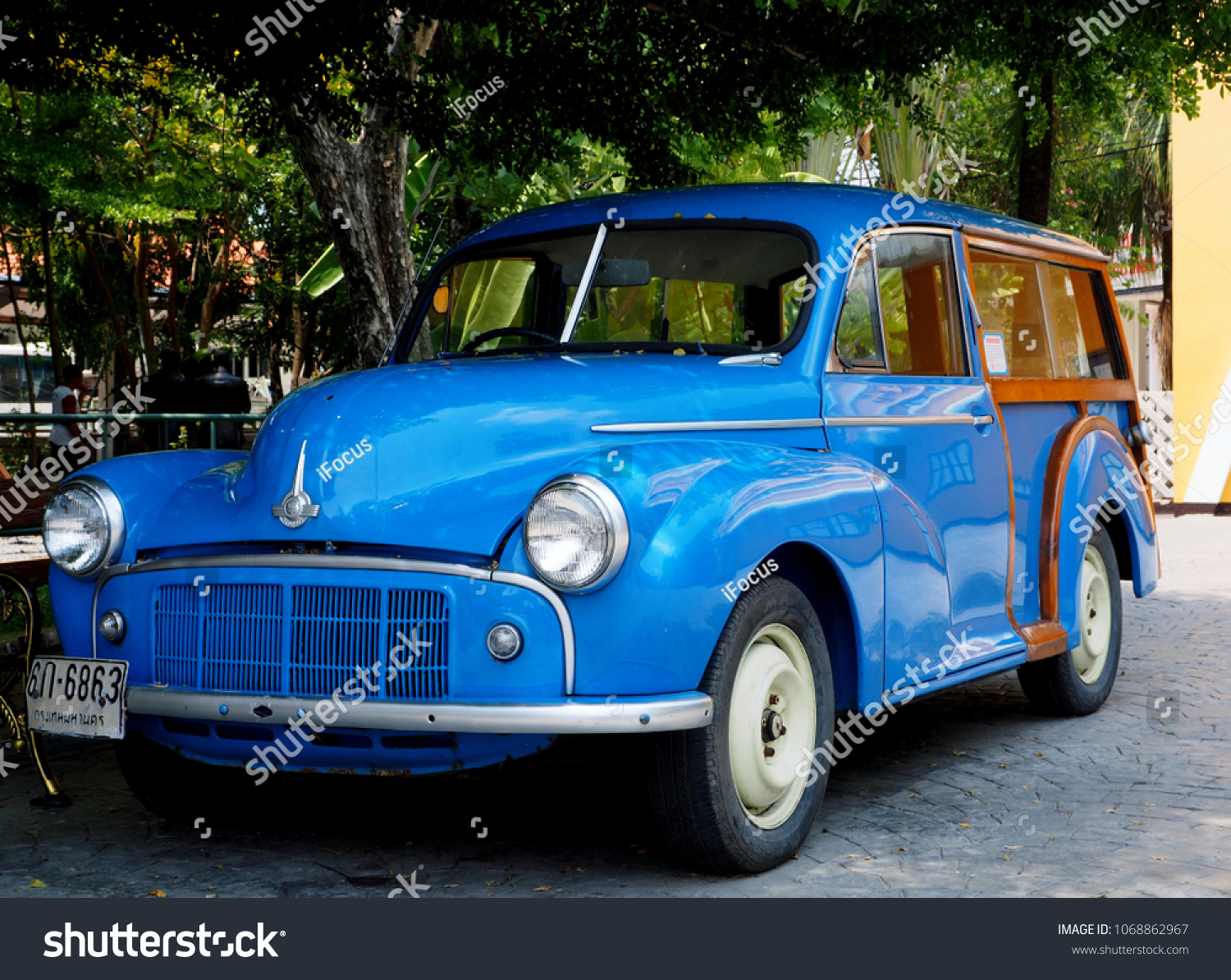PUTTHAMONTHON, NAKHON PATHOM, THAILAND - APRIL 15, 2018: A Morris Minor 1000 Traveller is exhibited at the outdoor venue at Film Archive on April 15, 2018, in Putthamonthon, Nakhon Pathom, Thailand.