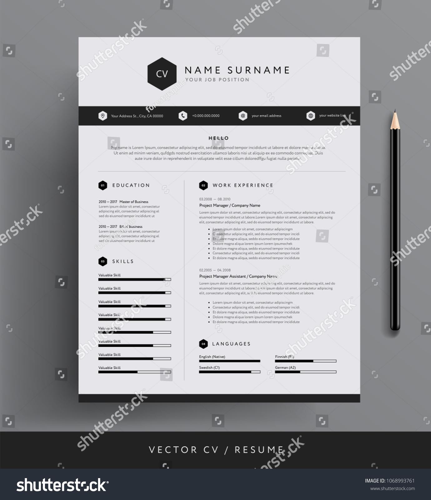 stylish cv resume template sample blackのベクター画像素材 1068993761