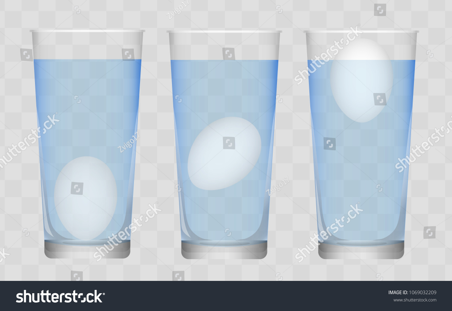 Egg Floating Test Glass Water Science Stock Illustration