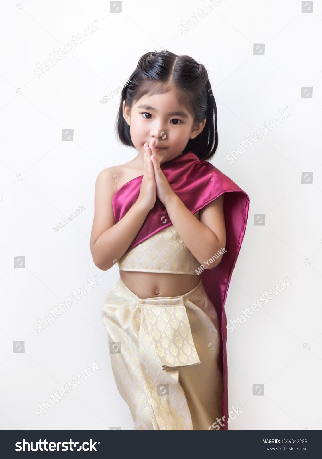 Thai Kid Greeting Action Thai Style Stock Photo Edit Now