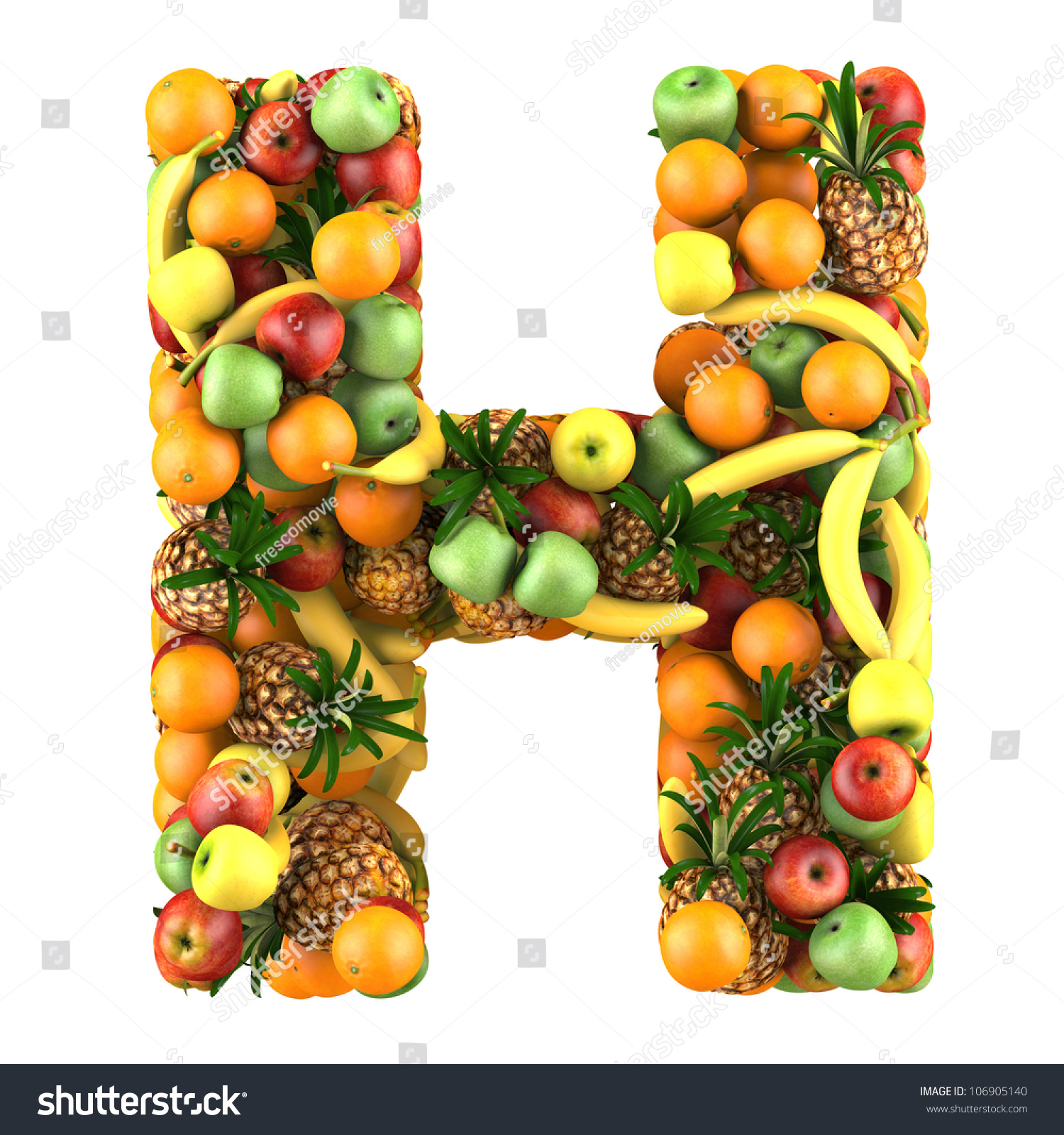 Letter H Made Fruits Isolated On Stock Illustration 106905140