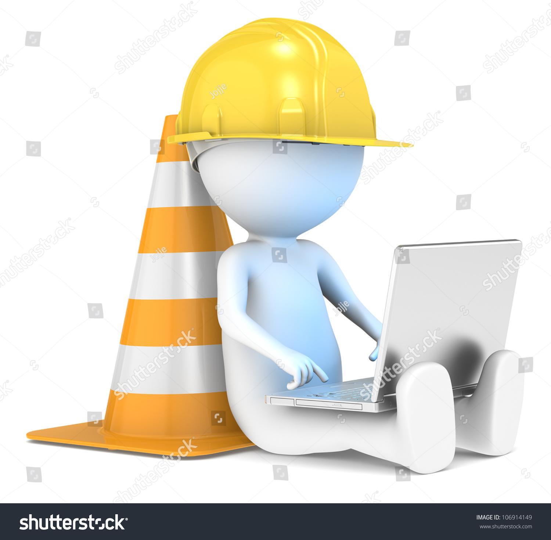 Under construction 3d little human character stock for Construction 3d