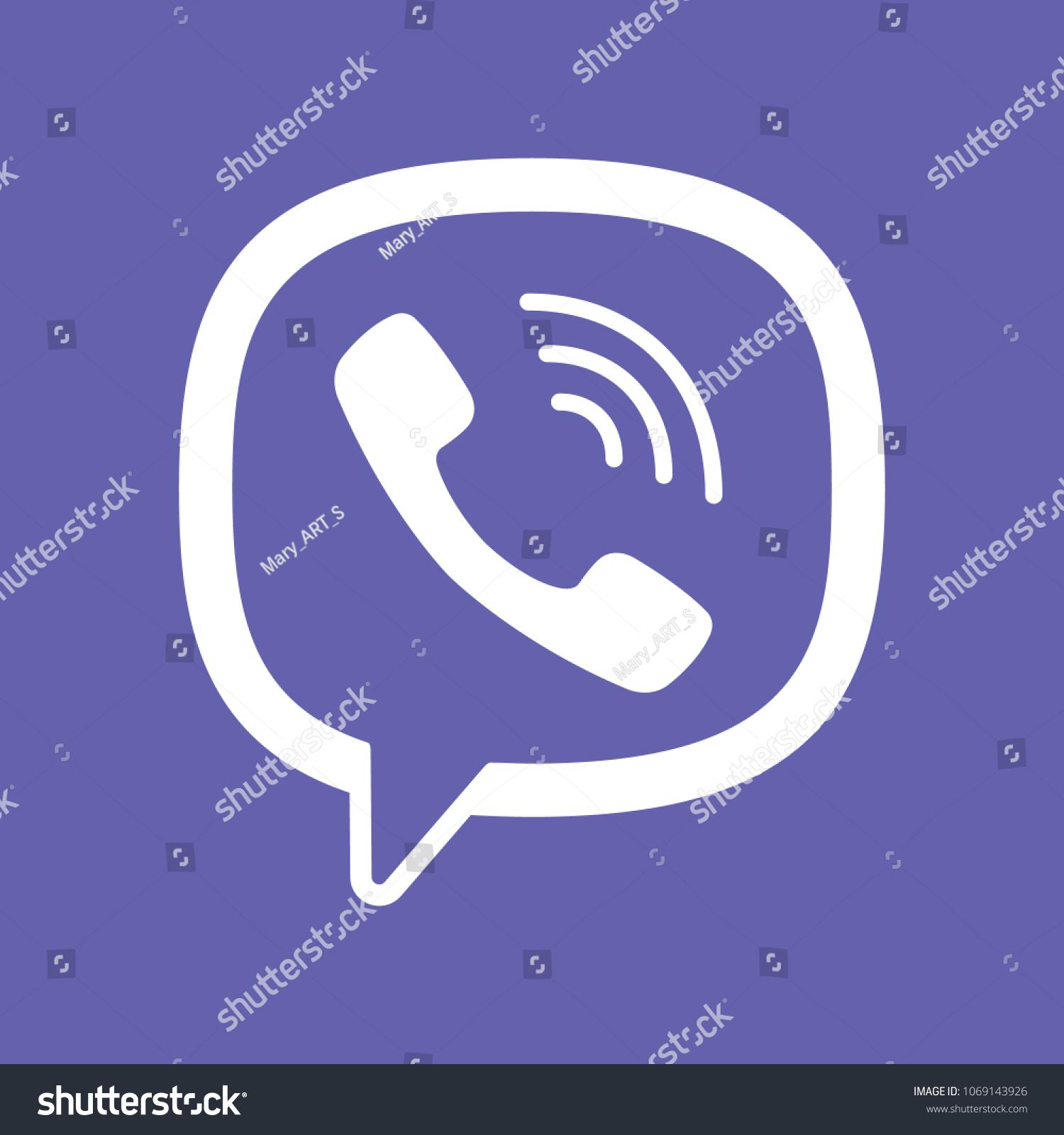 Viber Messenger Logo Icon Viber Symbol Stock Vector Royalty Free