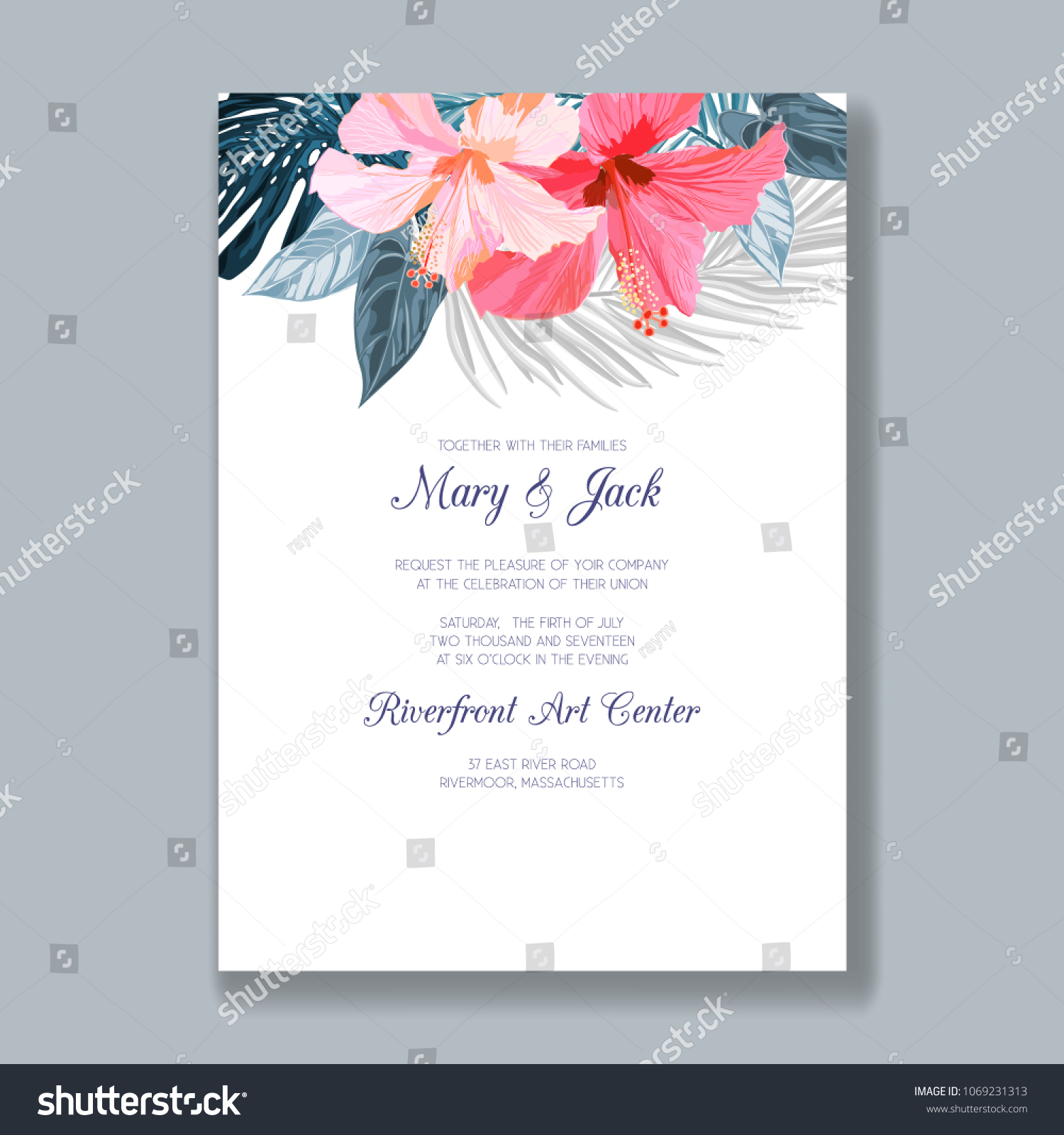 Wedding Invitation Template Tropical Flowers Leaves Stock Vector ...