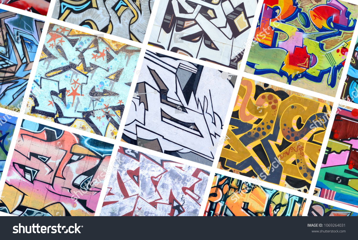 A set of many small fragments of graffiti drawings street art abstract background collage
