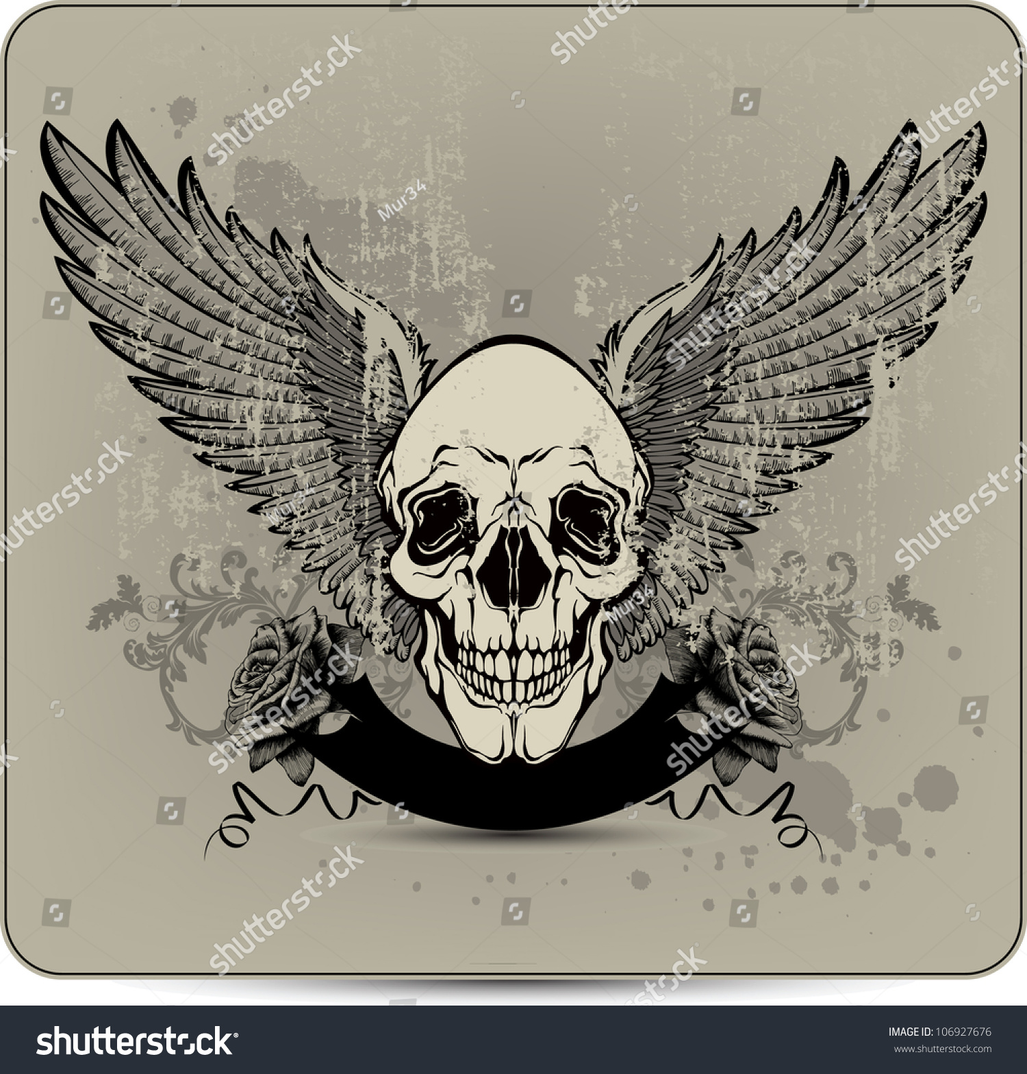 Hand Drawings Roses And Skulls: Skull With Wings And Roses, Hand-Drawing. Vector