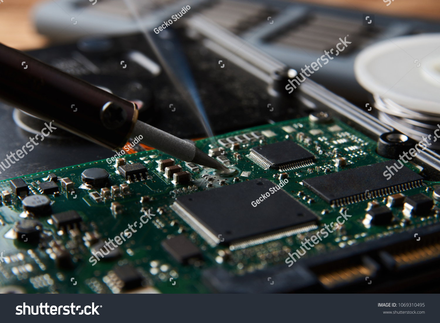 Closeup Soldering Electronic Circuit Board Stock Photo Repair Of Manufacturing And Concept With Iron
