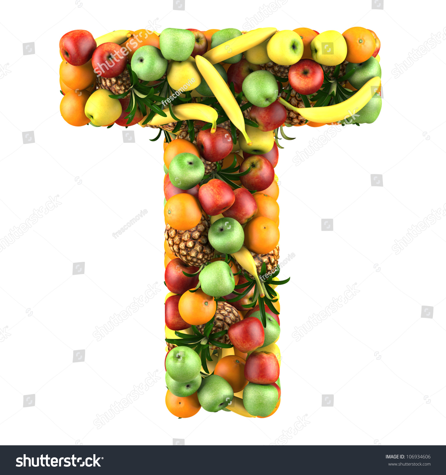 letter t made of fruits isolated on a white