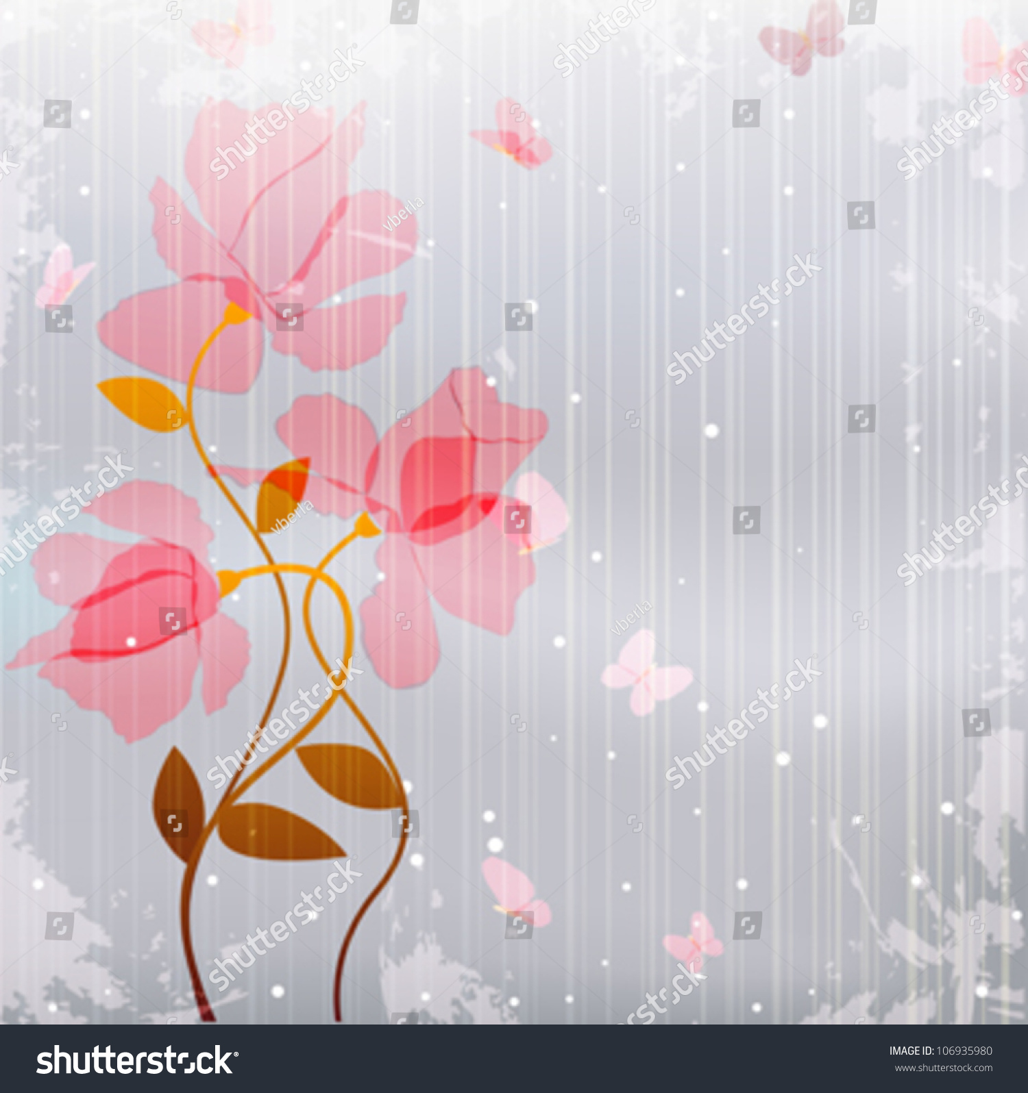 Background image transparency - Vintage Card As Transparency Pink Flowers With Butterfly On Abstract Gray Grunge Background